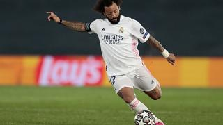 Real Madrid's Marcelo takes a shot during the UEFA Champions League semi-final first leg against Chelsea on Tuesday.