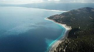 Le lac Salda en Turquie, le 09/04/2021 - capture d'écran d'une vidéo AFP