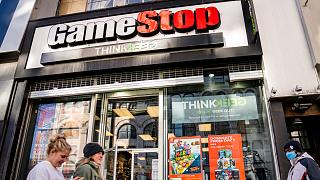 متجر ألعاب الفيديو في شارع 14 في يونيون سكوير، في حي مانهاتن بنيويورك.