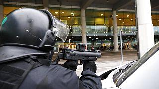 A policeman in riot gear