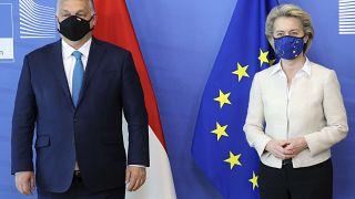 Orbán Viktor és Ursula von der Leyen Brüsszelben