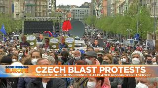 Protesters gathered in central Prague.