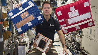L'astronaute français Thomas Pesquet dans l'ISS, le 25/12/2016 - photo d'archives fournie par la NASA