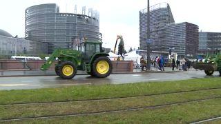 Tractors outside EU parliament in Strasbourg