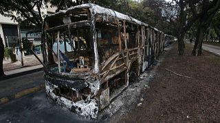Autobuses quemados en la ciudad de Cali, Colombia