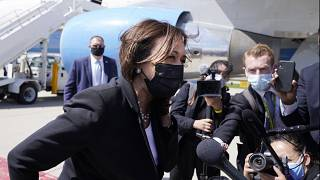 Vice President Kamala Harris speaks to the media on India, prior to boarding Air Force Two, Friday, April 30, 2021.
