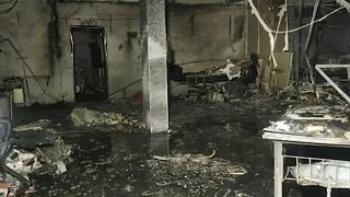 The Welfare Hospital after a deadly fire in Bharuch, western India