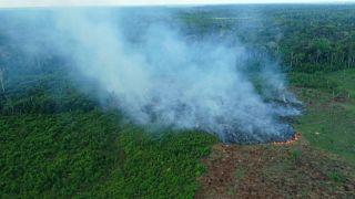 حريق في منطقة من غابات الأمازون بالقرب من ماناوس البرازيلية، حيث تظهر البيانات الرسمية أن عدد حرائق الغابات في منطقة الأمازون البرازيلية قفز بنسبة 28 بالمئة العام الماضي.