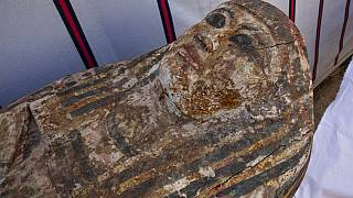 File picture: An ancient coffin that Egyptian archaeologist Zahi Hawass and his team unearthed in a vast necropolis filled with burial shafts, coffins and mummies.