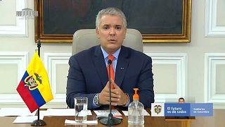 El presidente colombiano, Iván Duque, durante su anuncio