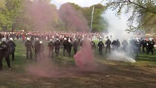 Police used tear gas and water cannon on Saturday to disperse revelers at an illegal party in Brussels' Bois de la Cambre park.