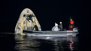 بازگشت چهارفضانورد از ایستگاه فضایی بینالمللی با کپسول «اسپیسایکس»