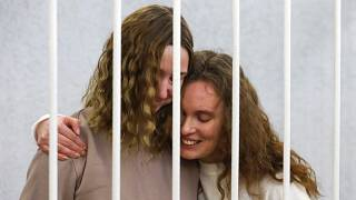 Journalists Ekaterina Bakhvalova, right, and Daria Chultsova, on trial in Belarus this year after covering a protest against Lukashenko