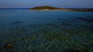 """Nissi Beach"" in southeast resort of Ayia Napa in Cyprus"