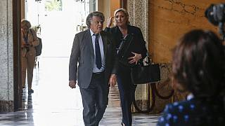 (FILE) French far-right leader Marine Le Pen (R) and Member of Parliament Gilbert Collard arrive at the  arrive at the French National Assembly in Paris, 2017.