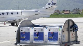 A container with boxes of the Pfizer/BioNTech coronavirus vaccine at Sarajevo Airport in Bosnia.