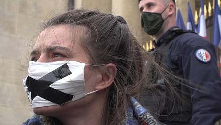 Extinction Rebellion activists protest at French parliament