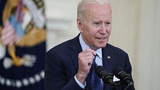 President Joe Biden speaks about the COVID-19 vaccination program