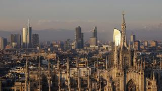 Duomo cathedral and the skyline in background in Milan