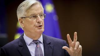 Michel Barnier speaks during a debate on the EU-UK trade and cooperation agreement at the European Parliament in Brussels, April 27, 2021.