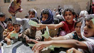 Распределение помощи - Сана, Йемен