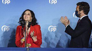 Madrids Regionalpräsidentin Isabel Diaz Ayuso und der Chef der Volkspartei (PP) Pablo Casado Blanco