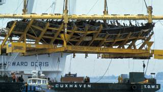 The wreckage of the Mary Rose was raised from the Solent in 1982
