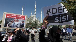 مسيرة تركية تدعم الرئيس المصري السابق محمد مرسي وتندد بالرئيس الحالي عبد الفتاح السيسي