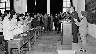 Ronald Reagan amerikai elnök a Fudan egyetemen 1984-ben