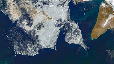 Sea ice patches south of Pioneer Island (Russia), on 14 August 2020.