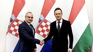 Szijjártó Péter és a horvát külügyminiszter, Gordan Grlic Radman egy 2020-as találkozón kezet fognak.