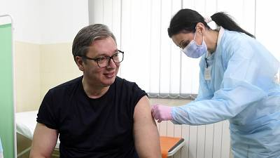Serbian President Aleksandar Vucic received a dose of the Chinese Sinopharm vaccine on April 6.