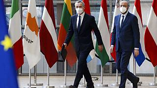 Az EU-NATO együttműködésről is egyeztetnek - Charles Michel és Jens Stoltenberg 2021 februárjában (illusztráció)