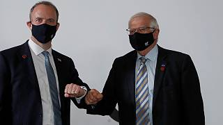 High Representative of the EU for Foreign Affairs Josep Borrell, right, and Dominic Raab, UK Foreign Affairs Secretary, meet ahead of talks during G7 in London on 5 May, 2021.