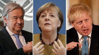 Antonio Guterres, Angela Merkel, Boris Johnson ahead of climate talks