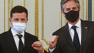 Ukrayna Cumhurbaşkanı Volodimir Zelensky ve ABD Dışişleri Bakanı Antony Blinken