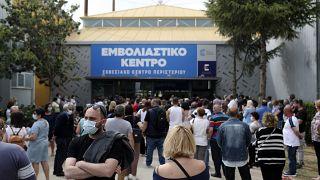 Centro de vacunación en Atenas