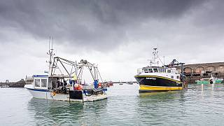 French fishing vessels block the port of St Helier in Jersey on Thursday, May 6.
