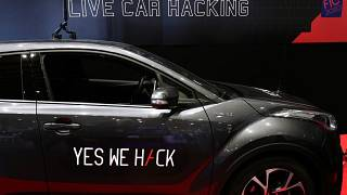 A Toyota Hybrid during a test for hackers at the Cybersecurity Conference in Lille, northern France, Wednesday Jan. 29, 2020