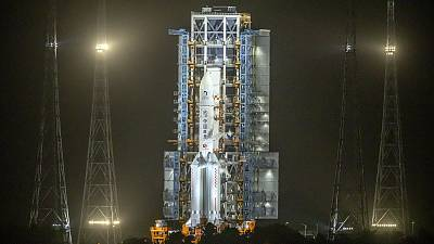 A Long March-5 rocket sits on the launch pad at the Wenchang Space Launch Centre in Wenchang in southern China.