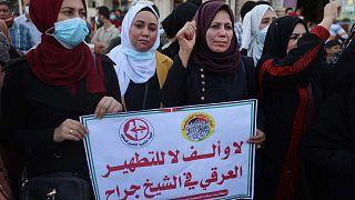 مظاهرة أنصار الجبهة الشعبية لتحرير فلسطين في جباليا شمال قطاع غزة، ضد قرار محكمة إسرائيلية بإخلاء عدد من العائلات الفلسطينية في حي الشيخ جراح بالقدس الشرقية، 5 مايو 2021