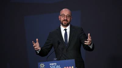 European Council President Charles Michel speaks during the closing ceremony of the EU summit at the Alfandega do Porto Congress Center in Porto, Portugal, Friday, May 7, 2021
