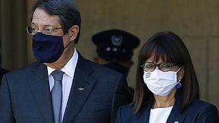 Cyprus' President Nicos Anastasiades, left, and Greece's President Katerina Sakellaropoulou