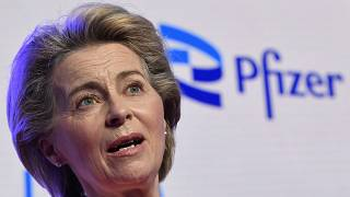 FILE - In this April 23, 2021 photo, European Commission President Ursula von der Leyen makes a statement during an official visit to Pfizer in Puurs, Belgium.