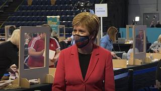 Scottish First Minister Nicola Sturgeon at her election count on Friday