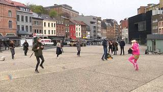 Street dancing and drumming march  in Charleroi, Belgium