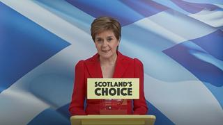 Scotland's First Minister Nicola Sturgeon speaking on Saturday after her landslide victory was confirmed