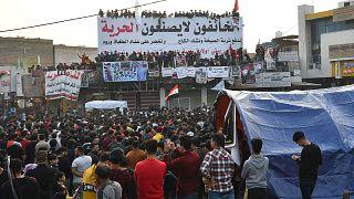 جانب من الحراك في الشارع العراقي المناهض لفساد الحكومة. 12/04/2020