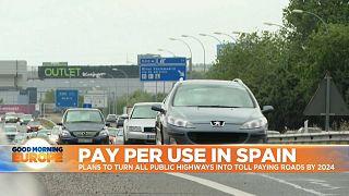 Cars on Spainish motorway.