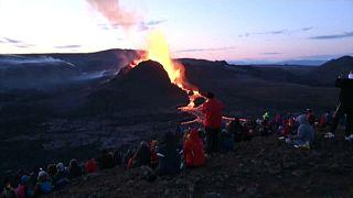 Vulkan-Touristen in Island